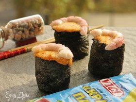 Суши, запеченные со спайси соусом с крабовыми палочками
