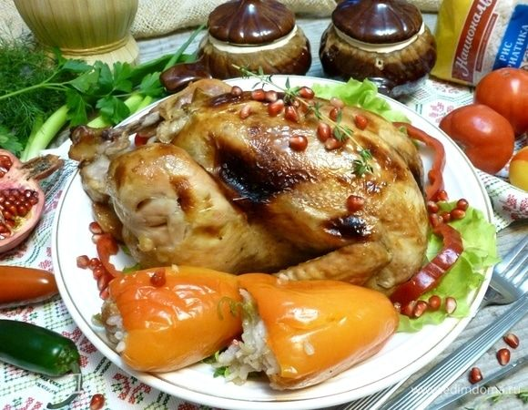 Курица, фаршированная сладким перцем с рисом