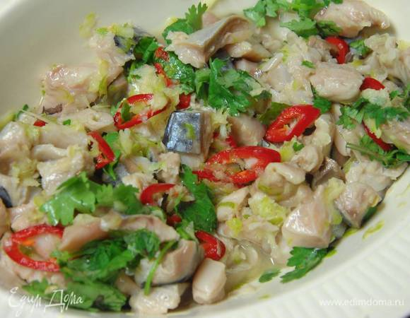 Севиче с зеленым салатом