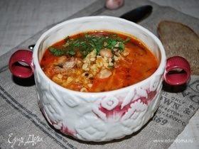 Густой суп харчо с айвой