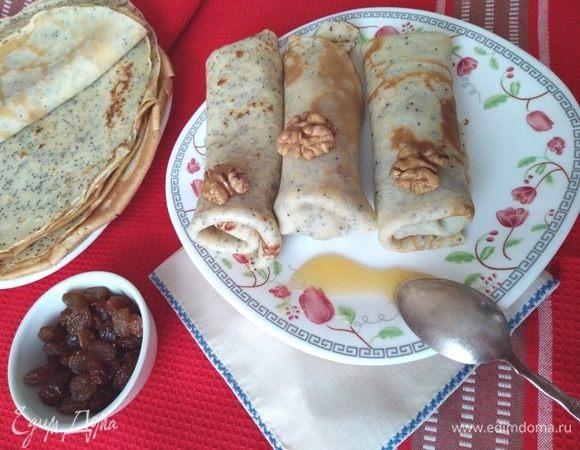 Венгерские маковые блины с изюмом и грецкими орехами
