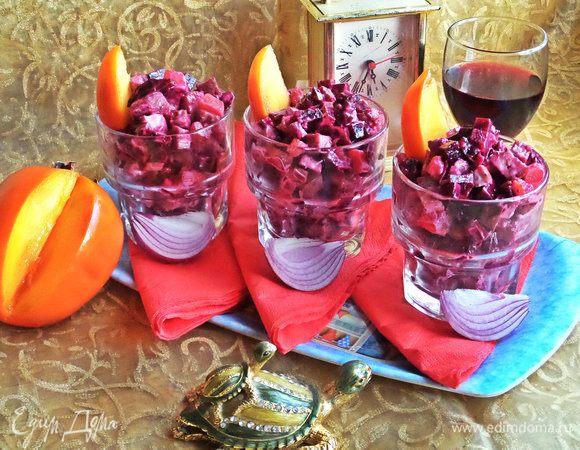 Свекольный салат с курицей и хурмой
