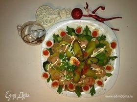 Оливье по-царски со свиной вырезкой и креветками на желе из гранатового соуса