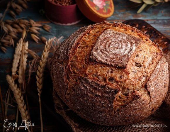 Цельнозерновой хлеб на закваске с семенами льна
