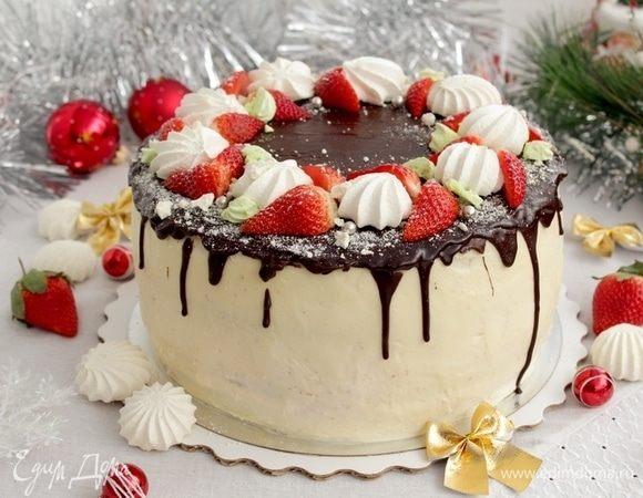 Торт с клубничным и лимонным кремом