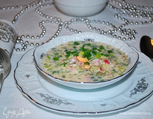 Окрошка с огурцом, яйцами, укропом и луком на скорую руку - рецепт пошаговый с фото