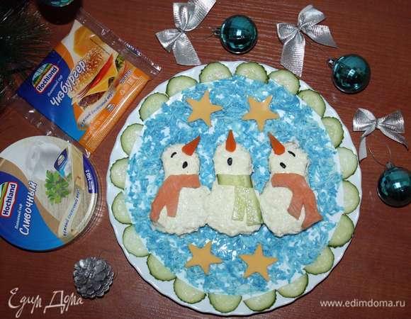 Бутерброды «Поющие снеговики в шарфиках»