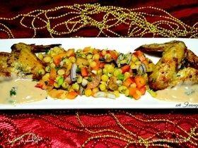 Теплый салат с пророщенным горохом