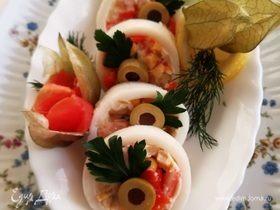 Заливные кальмары с овощами