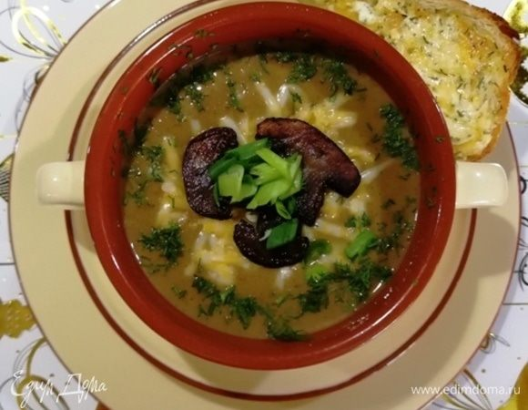 Фасолевый крем-суп с шампиньонами