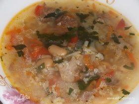 Суп рисовый с фасолью