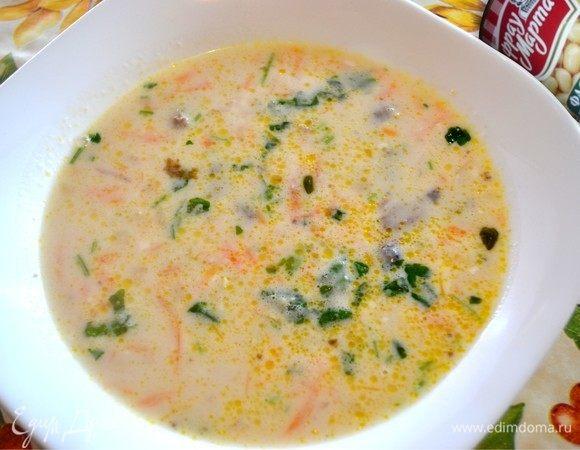 Сырный суп с белой фасолью