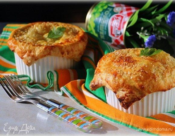 Курино-грибной пай с зеленым горошком