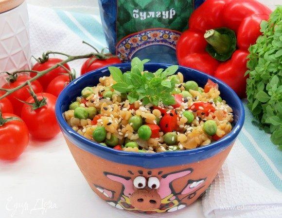 Булгур с овощами и соевым соусом