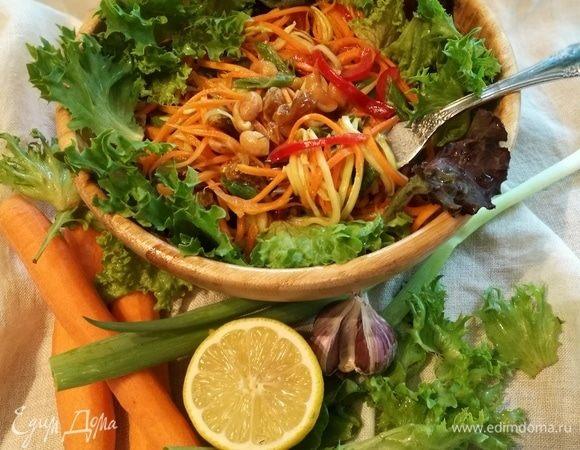 Морковно-кабачковая «паста» с заправкой из тахини и арахисом