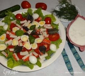 Летний салат с перепелиными яйцами