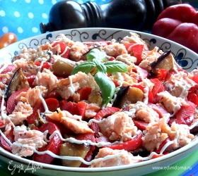 Баклажановый салат с рыбой