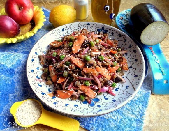 Гречка с баклажаном и морковкой