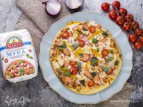Пицца с болгарским перцем и слабосоленым лососем