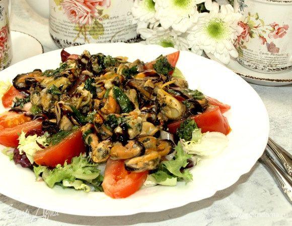 Салат с мидиями и грейпфрутом