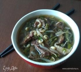 Суп из говядины, папоротника и пророщенных бобов