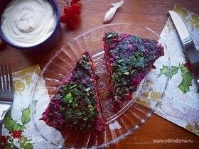 Печеночный торт «Ловелас» с морковью и свеклой