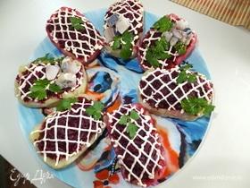 Картофельные «лодочки» с селедкой