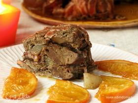 Утиная печень с беконом в горшочке