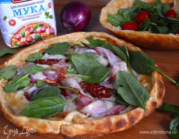 Пицца с нежной начинкой и хрустящим «салатником»