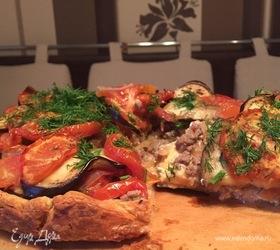 Итальянский пирог с фаршем и баклажанами