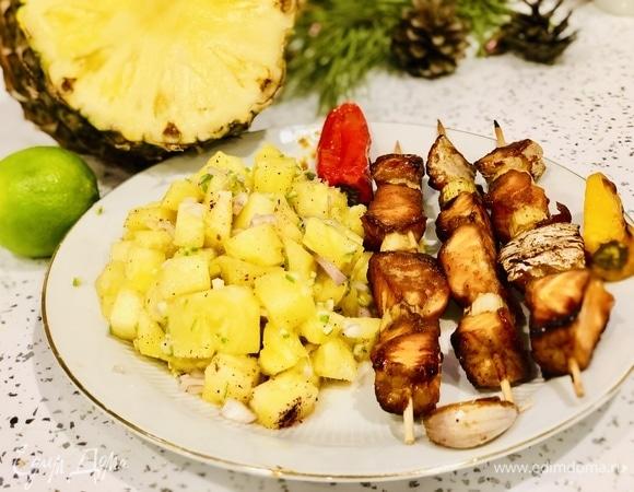 Шашлычки из семги под маринадом из соевого соуса, васаби и меда