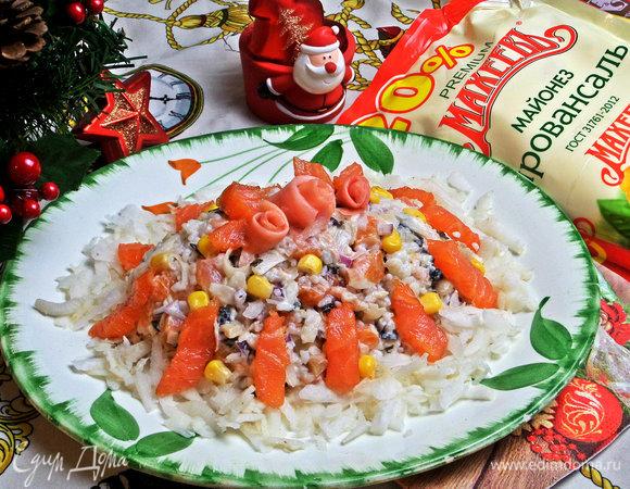 Салат с лососем и дайконом