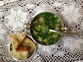 Суп с фрикадельками и горошком