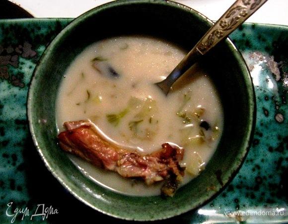Овсяный суп на копченых ребрах