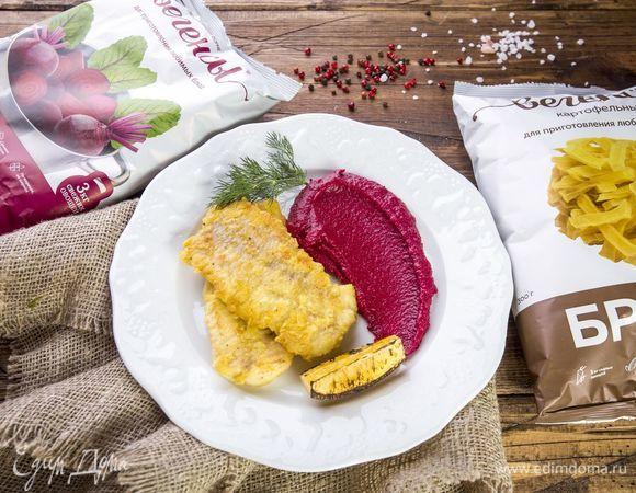 Филе трески с цветным картофельным пюре