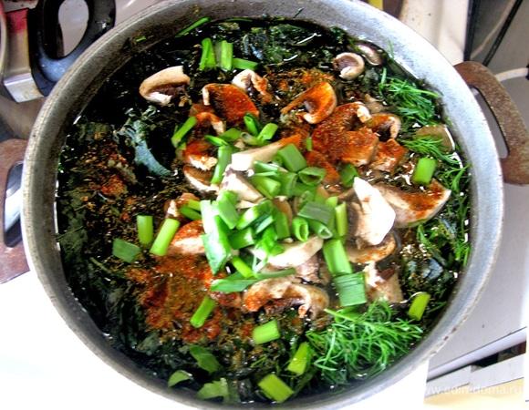Крапивный суп со свининой и шампиньонами