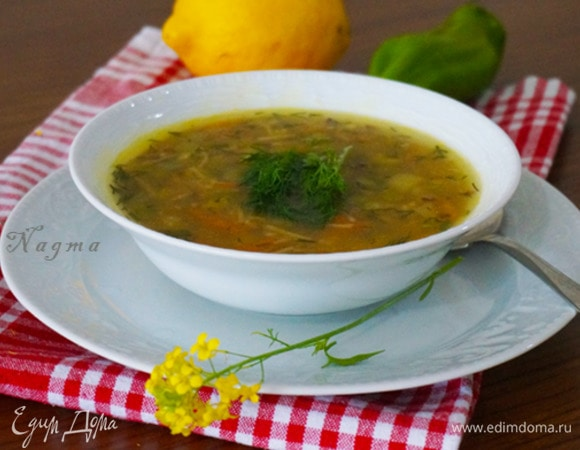 Овощной суп с нутом и вермишелью