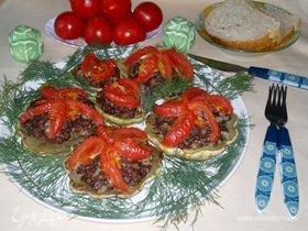 Патиссоны с фаршем и помидорами