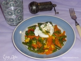 Яйца пашот с овощами