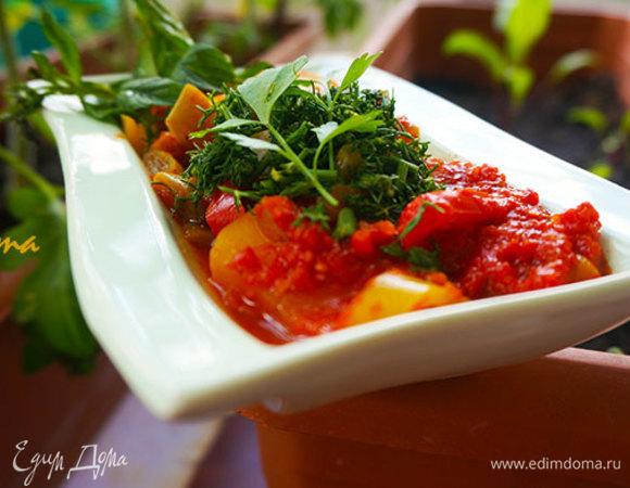 Зеленая фасоль с картофелем в томатном соусе