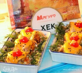 Рыба, запеченная с кабачками