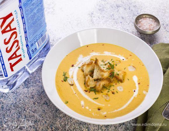 Морковный суп-пюре с чесночными гренками