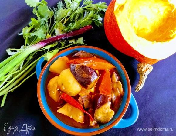 Картофельное рагу с баклажанами и ароматом корицы