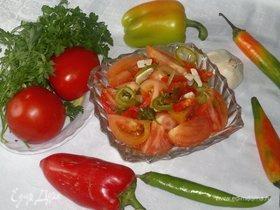 Острая закуска из бурых помидоров