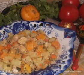 Рагу из репы, картофеля и свинины
