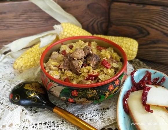 Кукурузная каша с мясом, сулугуни и вялеными томатами