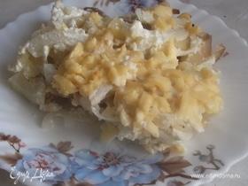 Запеканка из отварного картофеля с курицей