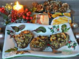 Язык, запеченный с грибами, под сырным соусом