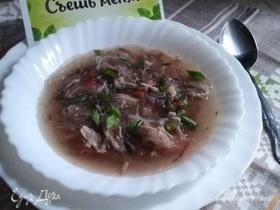 Куриный суп с рисовой лапшой