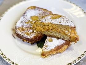 Французские тосты со сливочным сыром и тыквенным пюре